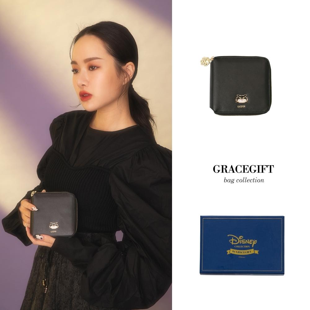 Disney collection by grace gift-反派魯西法拉鍊方形短夾 黑