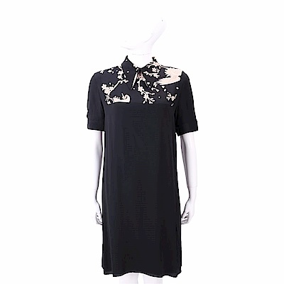 N° 21 蒼鷺印花黑色絲質洋裝