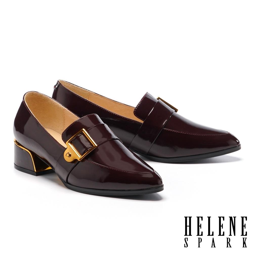 低跟鞋 HELENE SPARK 紳士雅痞方型針釦皮帶尖頭粗低跟鞋-咖