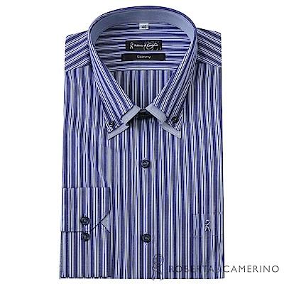 ROBERTA諾貝達 台灣製 獨家設計款 條紋長袖純棉襯衫 紫色