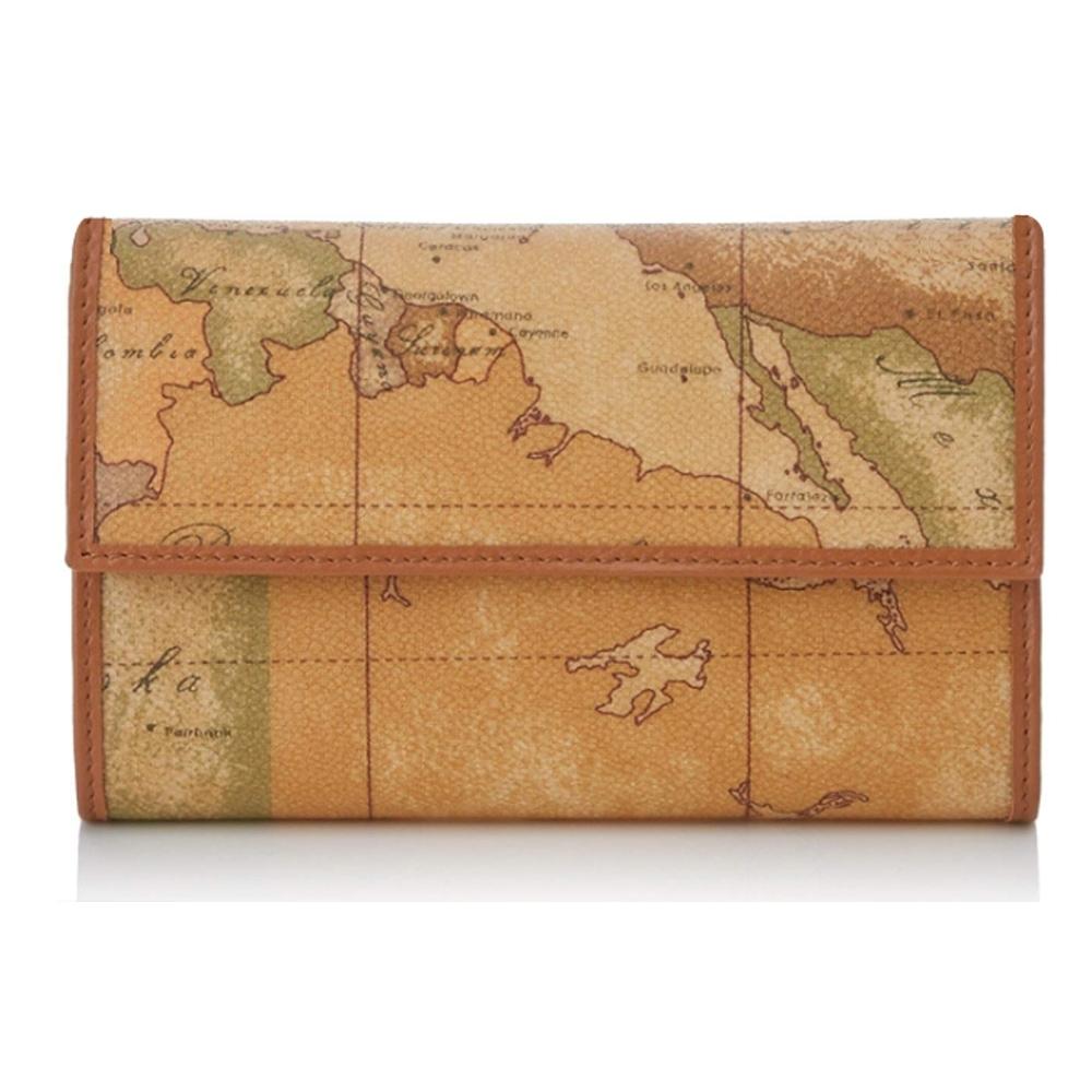 Alviero Martini 義大利地圖包 扣式5卡零錢中長夾-地圖黃