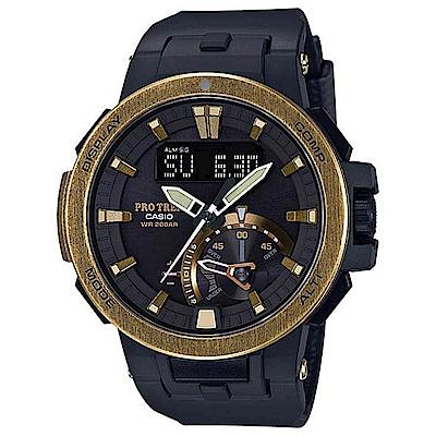 CASIO PRO TREK 復古古銅金戶外活動登山錶(PRW-7000V-1)
