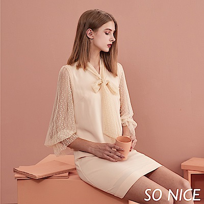 SO NICE優雅都會織帶網紗洋裝