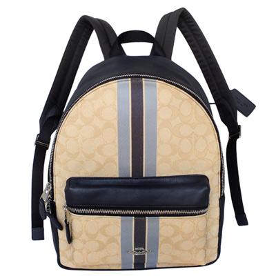 COACH仿金勾線C Logo藍色直紋拼接全皮中款後背包
