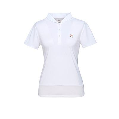 FILA 女款抗UV吸濕排汗POLO衫-白5POT-1007-WT