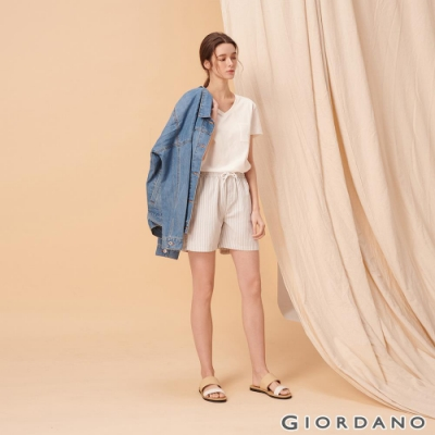GIORDANO 女裝純棉抽繩卡其休閒短褲-95 藍白條紋