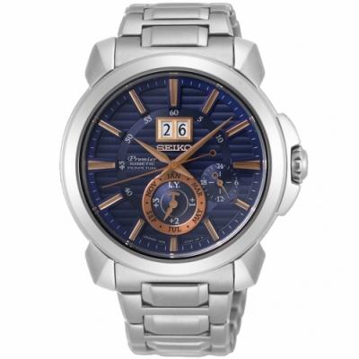 SEIKO精工 Premier 人動電能萬年曆大視窗腕錶-43mm(SNP163J1)