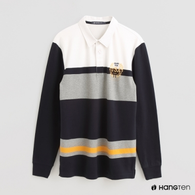 Hang Ten - 男裝 - 時尚撞色拼接色塊POLO衫 - 藍