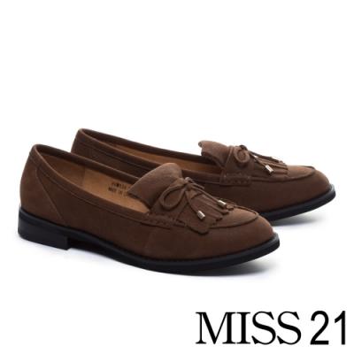跟鞋 MISS 21 經典蝴蝶結點綴流蘇牛皮低跟鞋-咖