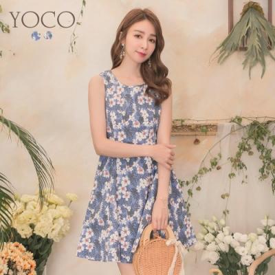 東京著衣-YOCO 度假感滿版花朵腰身剪裁無袖洋裝-S.M.L(共兩色)