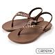 Grendha 晶鑽鍊帶時尚夾腳涼鞋-咖啡 product thumbnail 1