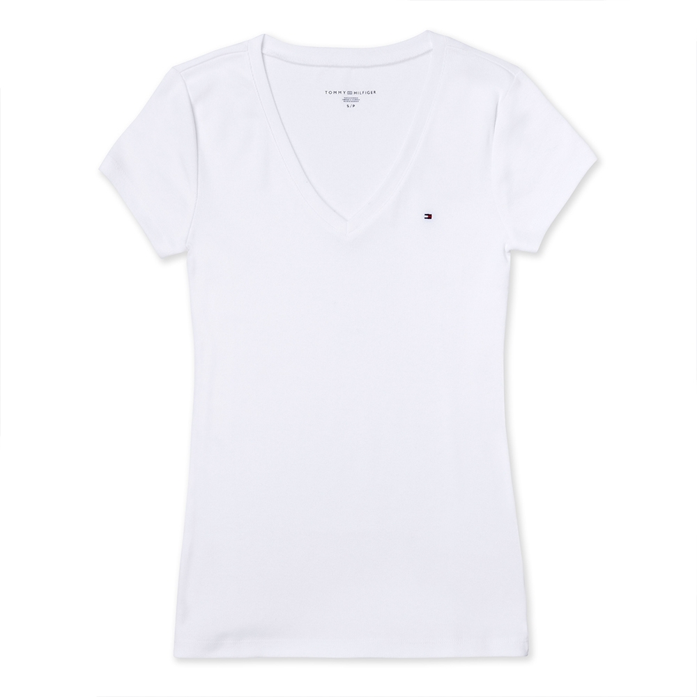 TOMMY 經典V領刺繡小LOGO素面短袖T恤 (女)-白色