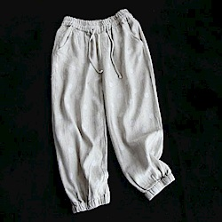 天絲亞麻繫帶波點休閒哈倫九分褲-設計所在