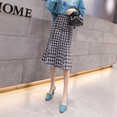 時尚毛呢顯瘦魚尾半身裙S-XL(共三色)-WHATDAY