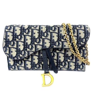 Dior Saddle系列經典OBLIQUE緹花布小牛皮斜背/肩背WOC(藍色)