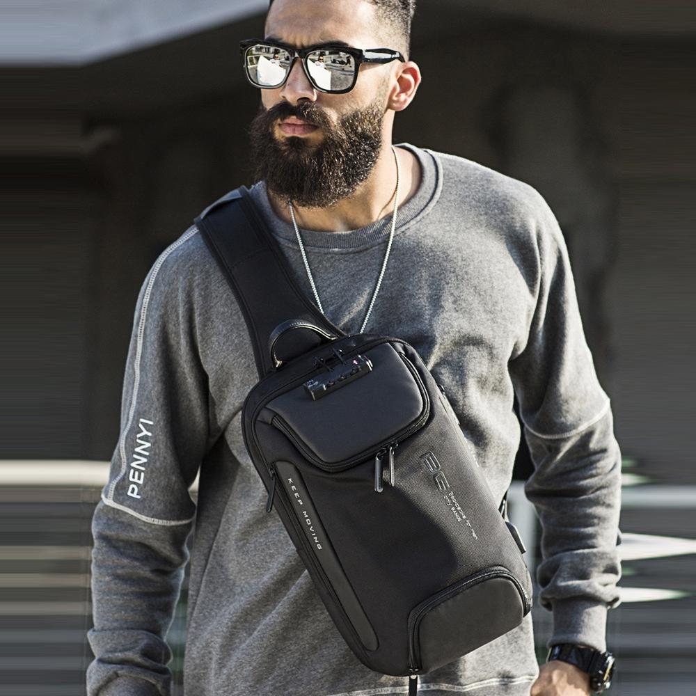 leaper 時尚休閒USB充電防盜鎖單肩包胸包 共2色 @ Y!購物