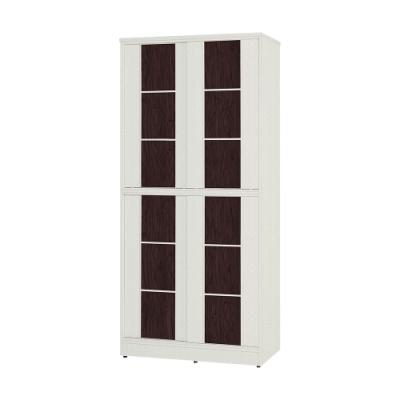Birdie南亞塑鋼-3尺方塊直飾條四推/拉門防水塑鋼高鞋櫃(白色+胡桃色)-90x41x195cm