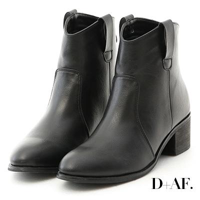 D+AF 時尚主打.素面小V口粗跟短靴*黑