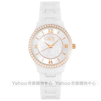 NATURALLY JOJO璀璨晶鑽珍珠貝陶瓷手錶~白X玫瑰金 30mm