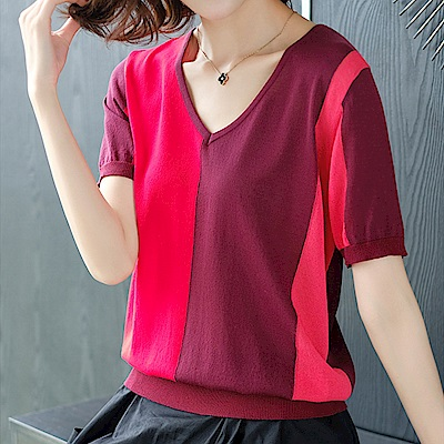 綻放  氣質百搭拼色短袖針織衫-共2色-(M-2XL可選)