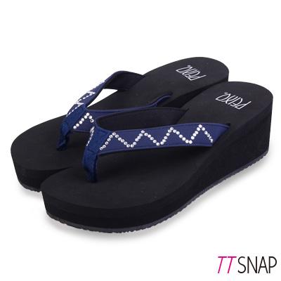 TTSNAP拖鞋-MIT修長顯瘦W型夾腳中跟涼拖 藍