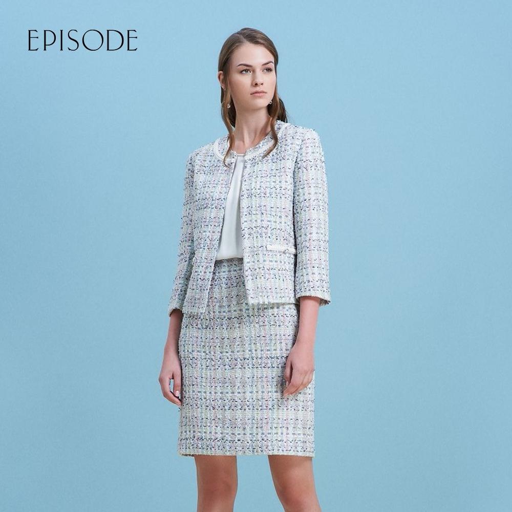 EPISODE - 白色雪紡拼接毛呢短袖洋裝