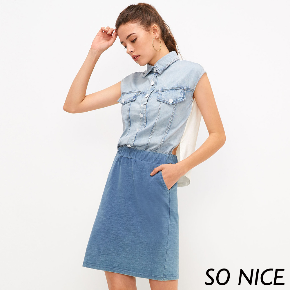 {品牌日}SO NICE個性牛仔拼接假兩件洋裝