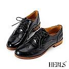 HERLS 質感品味 內真皮異材質雕花牛津鞋-黑色