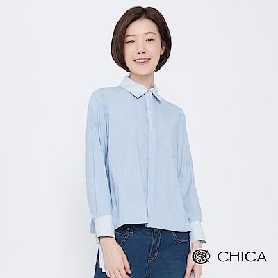 CHICA 巴黎文青字母刺繡袖綁帶襯衫(2色)