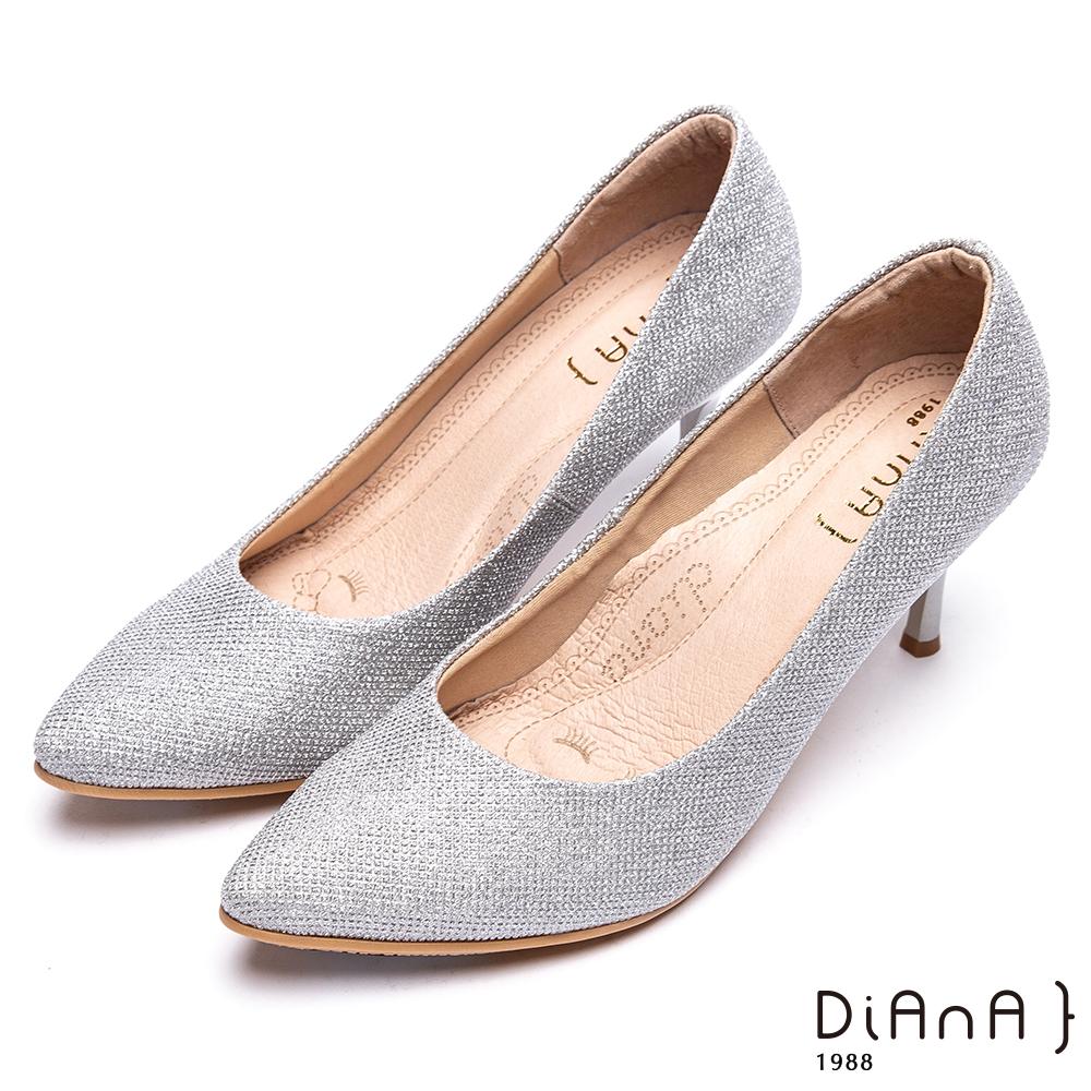 DIANA 漫步雲端焦糖美人款—進口鑽石紋布亮眼高跟鞋-白銀