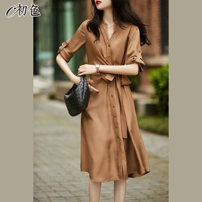 初色  女神系收腰顯瘦襯衫洋裝-共2色-(M-2XL可選)