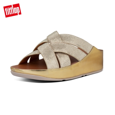 FitFlop LATTICE CRYSTAL CROSS SLIDES 閃耀水鑽涼鞋-女(復古金)