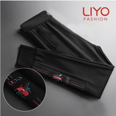 褲子-LIYO理優-歐款手工繡花美腿褲-E011004