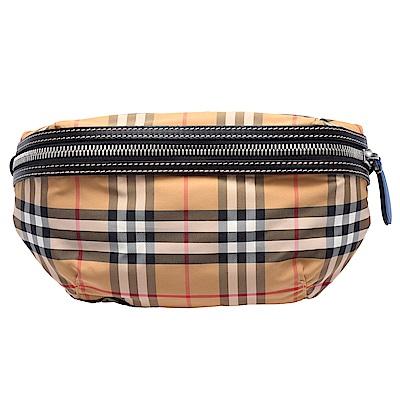BURBERRY 經典Vintage格紋帆布皮革飾邊拉鍊腰包/斜背包(中-古典黃)