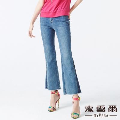 MYVEGA麥雪爾 高含棉開岔拼接九分喇叭牛仔褲-藍