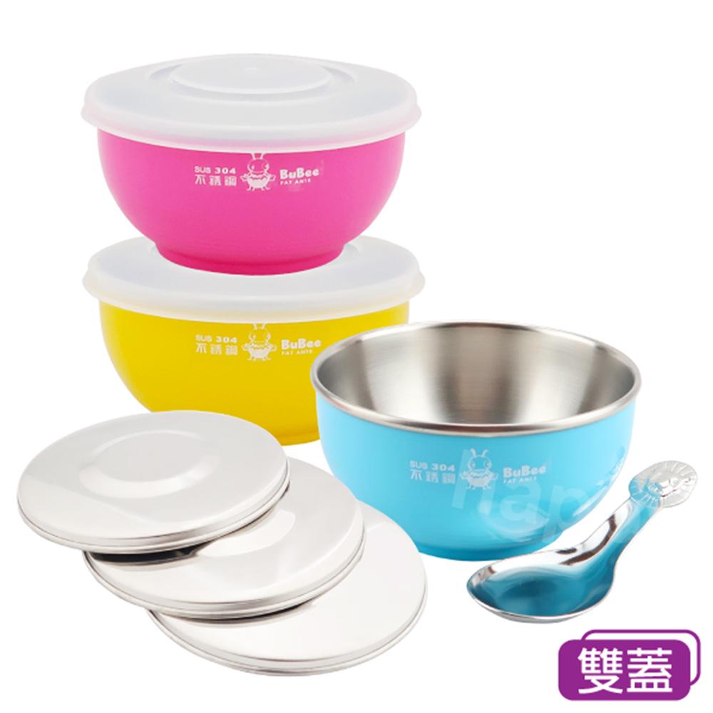 寶石牌 香醇不銹鋼兒童隔熱碗雙蓋三入組塑膠蓋+不銹鋼蓋幼稚園碗三色各一