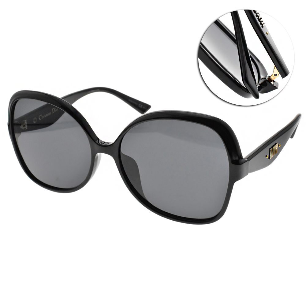 DIOR太陽眼鏡 女王大框款/黑-灰 #NUANCE F 807IR