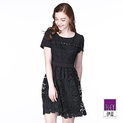 ILEY伊蕾 質感水溶蕾絲收腰洋裝(黑)