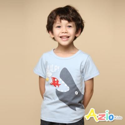 Azio 男童 上衣 可愛鯨魚吃小魚印花短袖上衣(藍)