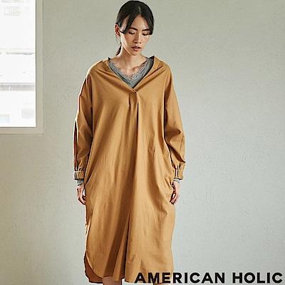 AMERICAN HOLIC 素面/格紋襯衫式V領連身裙