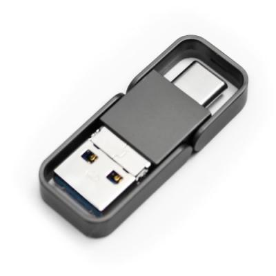 三合一 OTG 金屬框 隨身碟64GB鐵灰