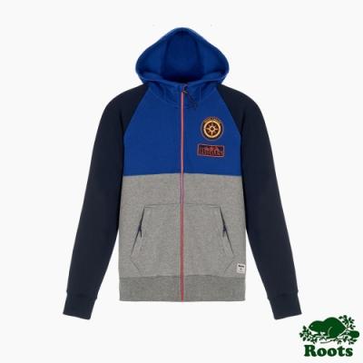Roots男裝-曠野探索系列 撞色刷毛連帽外套-藍色