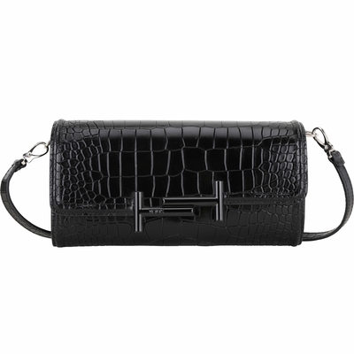 TOD'S Double T 金屬設計鱷魚壓紋小牛皮長夾式斜背包(黑色)
