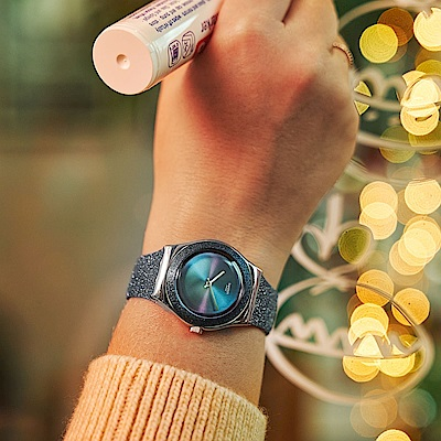 Swatch Irony 金屬系列手錶 BLUE SPARKLE 藍色煙花-33mm
