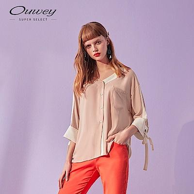 OUWEY歐薇 V領拼接七分袖襯衫(白/粉)
