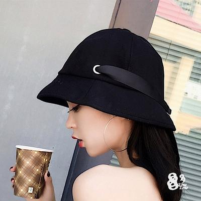 【89 zone】韓版圓頂蝴蝶結絲帶防曬/遮陽帽(黑)