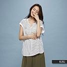 新降【KiKi】條紋拼接素色-襯衫(二色)
