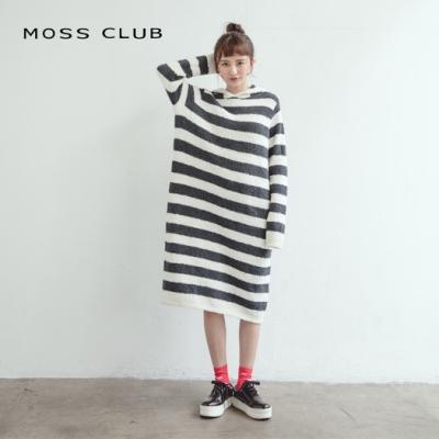 【MOSS CLUB】柔軟舒適條紋-針織衫(藍色)