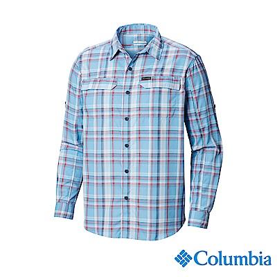 Columbia 哥倫比亞男款-UPF50快排長袖襯衫-藍色格紋 UAE06490