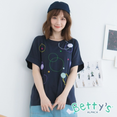 betty's貝蒂思 鐵扣繡線造型T-shirt(深藍)